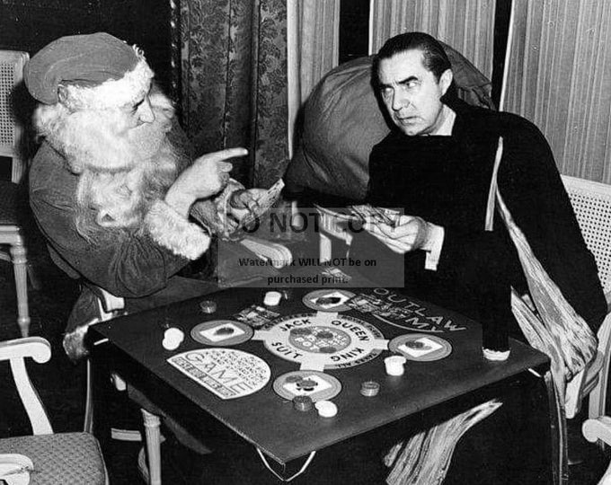 "Bela Lugosi as ""Dracula"" Playing Poker With Santa - 8X10 Christmas Photo (DD-303)"