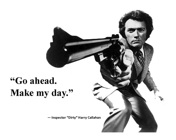 "Clint Eastwood as ""Inspector 'Dirty' Harry Callahan"" Quote #2 ""Go ahead. Make My Day."" - 8X10 or 11X14 Photo (AZ842)"
