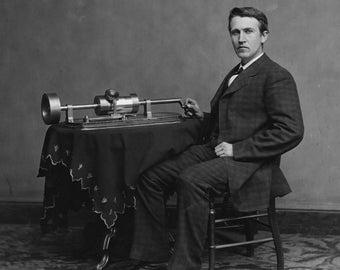 Thomas Alva Edison With His Second Phonograph - 5X7, 8X10 or 11X14 Photo (EP-604)