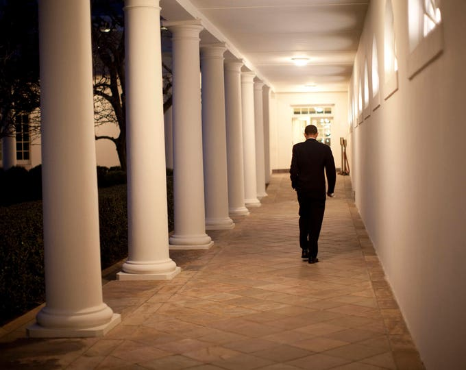 President Barack Obama Walks Alone Along the White House Colonnade in February 2009 - 5X7, 8X10 or 11X14 Photo (ZY-589)