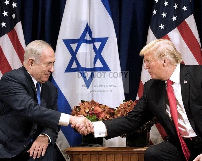 Donald Trump & Israeli Prime Minister Benjamin Netanyahu - 5X7, 8X10 or 11X14 Photo (AB-349)