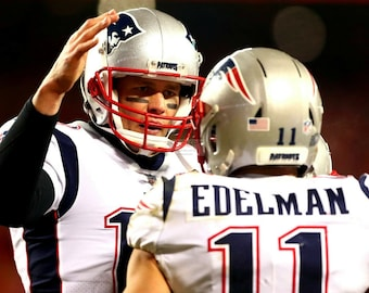 Tom Brady and Julian Edelman of the New England Patriots - 8X10 or 11X14 Sports Photo (WW026)
