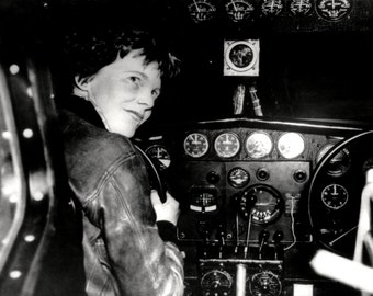 Legendary Pilot Amelia Earhart in the Cockpit of her Lockheed Electra Aircraft - 5X7, 8X10 or 11X14 Photo (ZZ-131)