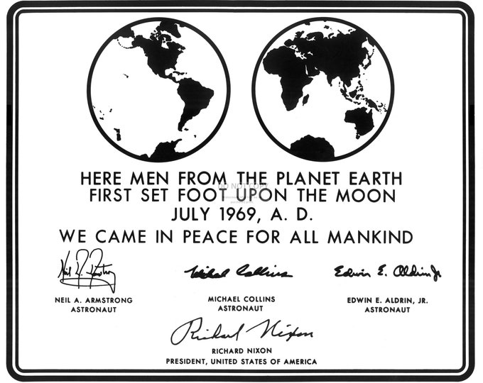 Replica of Plaque Left on the Moon by the Apollo 11 Astronauts in July, 1969 - 8x10 NASA Photo (CC-101)