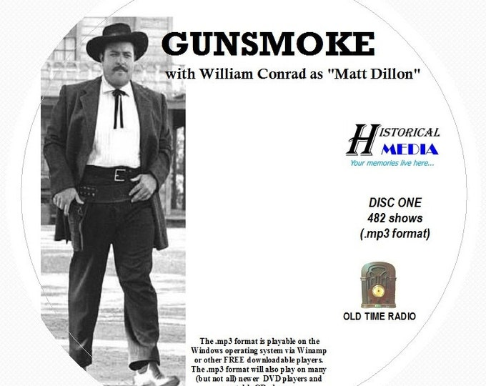 GUNSMOKE - 482 Shows of Old Time Radio In MP3 Format OTR On 5 CDs