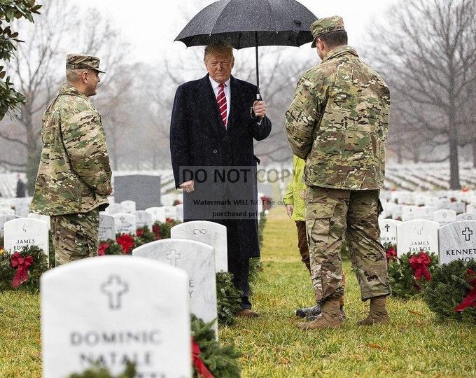 President Donald Trump Walks Through Arlington National Cemetery in 2018 - 8X10 or 11X14 Photo (RT-408)