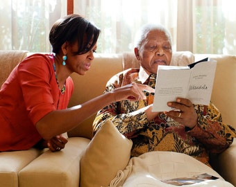 First Lady Michelle Obama With Nelson Mandela in 2011 - 5X7, 8X10 or 11X14 Photo (BB-635)