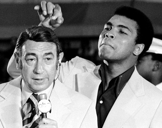 Muhammad Ali Jokes With ABC Sports Howard Cosell During 1972 Boxing Trials - 5X7, 8X10 or 11X14 Publicity Photo (ZY-156)