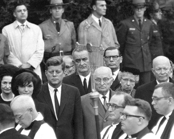 President John F Kennedy and Jackie at Eleanor Roosevelt funeral New 8x10 Photo