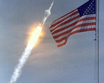 Apollo 11 Saturn V After Launch as Photographed Behind Flag - 5X7, 8X10 or 11X14 NASA Photo (AA-170)