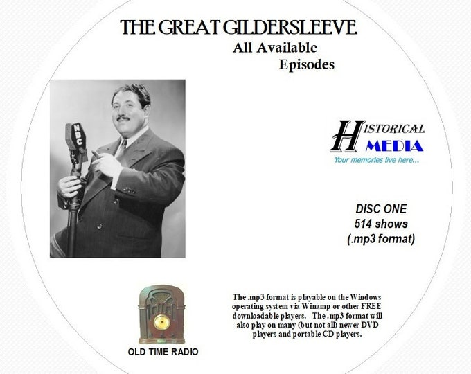 The Great Gildersleeve - 514 Shows of Old Time Radio in MP3 Format OTR on 6 CDs