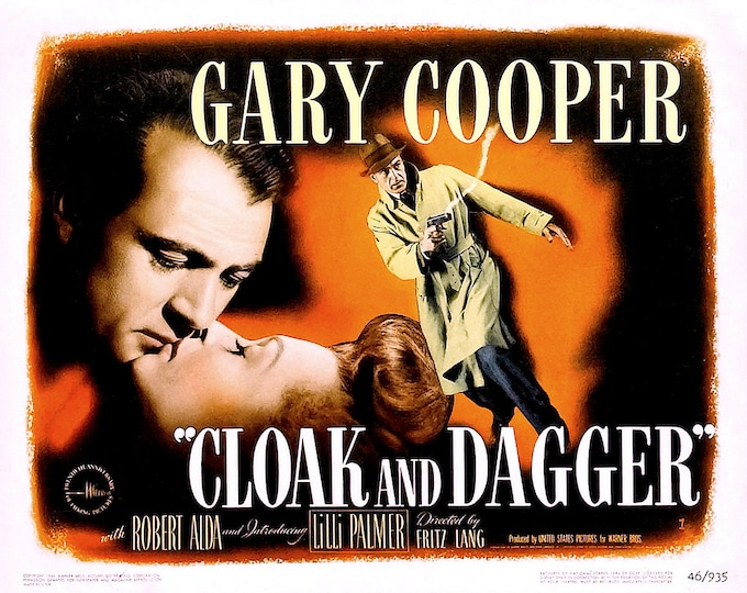 """Lobby Card From the Film """"Cloak and Dagger"""" Starring Gary Cooper (Reproduction) - 8X10 or 11X14 Photo (MP-009)"""