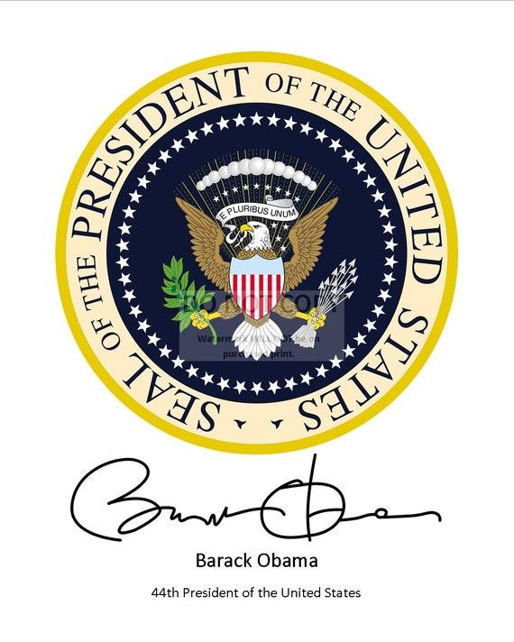 8X10 PHOTO RP-114 BARACK OBAMA SIGNATURE* UNDER PRESIDENTIAL SEAL HORIZONAL
