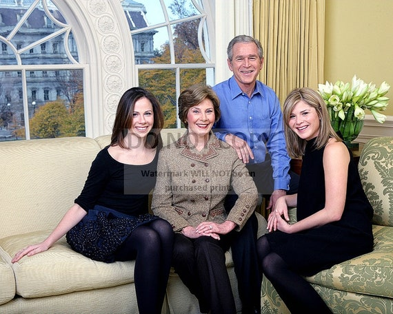 President George W Bush Family Portrait With First Lady Laura Etsy