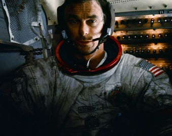 Astronaut Gene Cernan Inside the Apollo 17 Lunar Module - 5X7, 8X10 or 11X14 NASA Photo (EP-527)