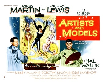 "Lobby Card From the Film ""Artists and Models"" Starring Dean Martin and Jerry Lewis (Reproduction) - 8X10 or 11X14 Photo (MP-003)"