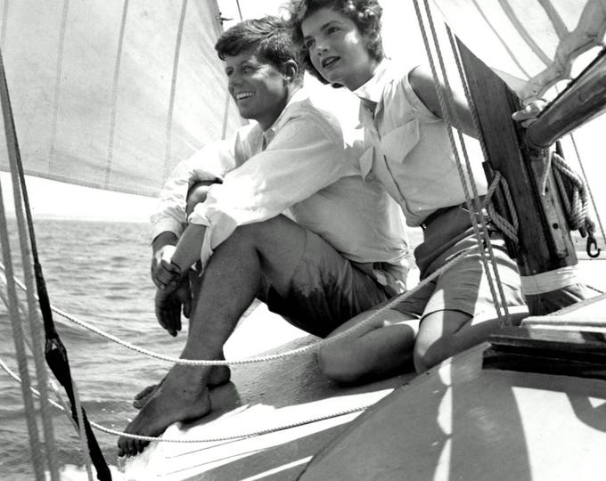 """John F. Kennedy and Fiancé Jacqueline """"Jackie"""" Bouvier Sailing in 1953 - 5X7, 8X10 or 11X14 Photo (CC-127)"""