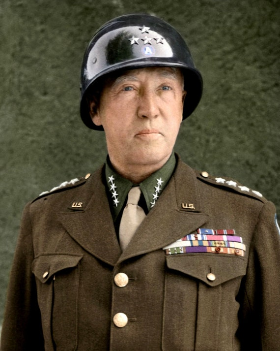 Us Army General George S Patton In 1945 5x7 8x10 Or Etsy