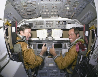 Space Shuttle Columbia STS-1 Astronauts John Young and Robert Crippen - 5X7, 8X10 or 11X14 NASA Photo (EP-416)