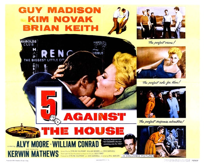 """Lobby Card From the Film """"5 Against the House"""" Starring Kim Novak (Reproduction) - 8X10 or 11X14 Photo (MP-011)"""