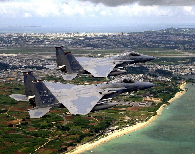 United States Air Force F-15C Eagles Fly in Formation Over Kadena Air Base - 5X7, 8X10 or 11X14 Photo (EP-110)
