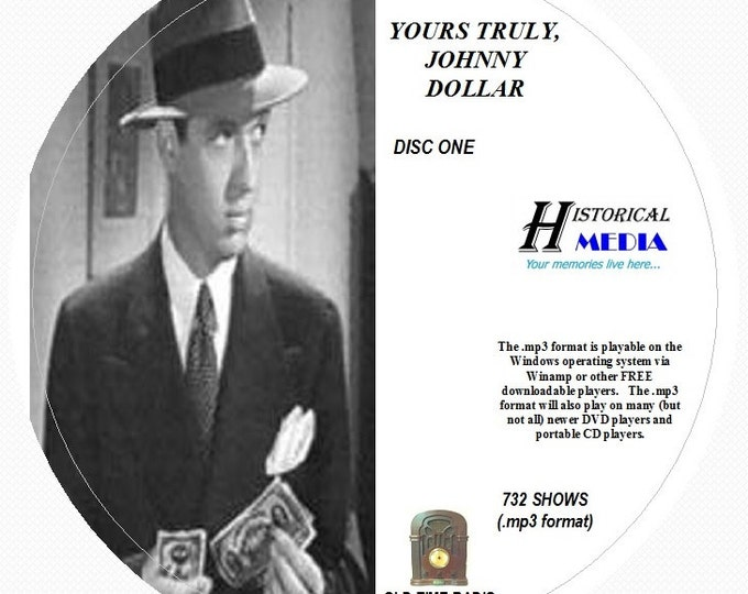 Yours Truly, Johnny Dollar - 732 Shows of Old Time Radio in MP3 Format OTR on 7 CDs