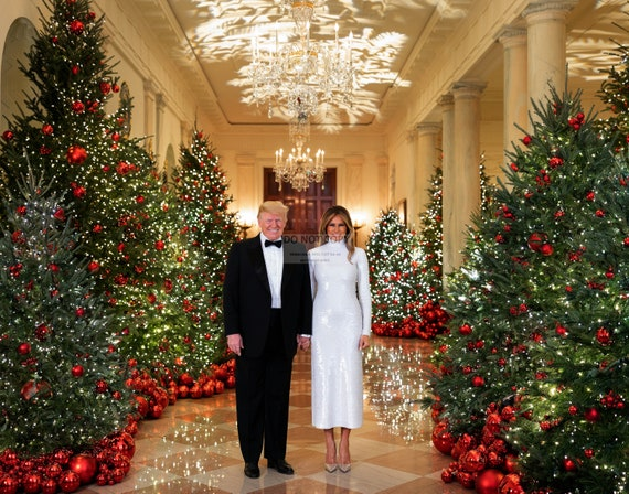 PRESIDENT DONALD TRUMP /& MELANIA 2018 CHRISTMAS PORTRAIT RT406-5 5X7 PHOTO