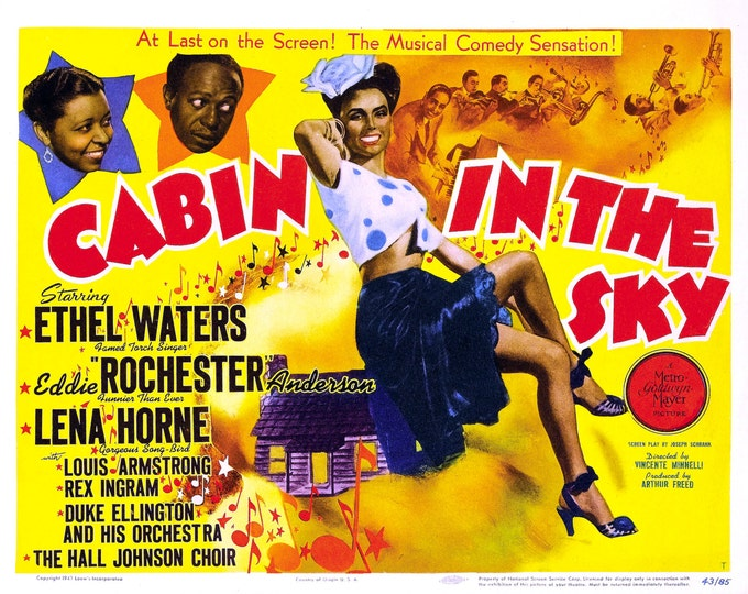 """Lobby Card From the Film """"Cabin in the Sky"""" Starring Eddie """"Rochester"""" Anderson and Lena Horne (Reproduction) - 8X10 or 11X14 Photo (MP-008)"""
