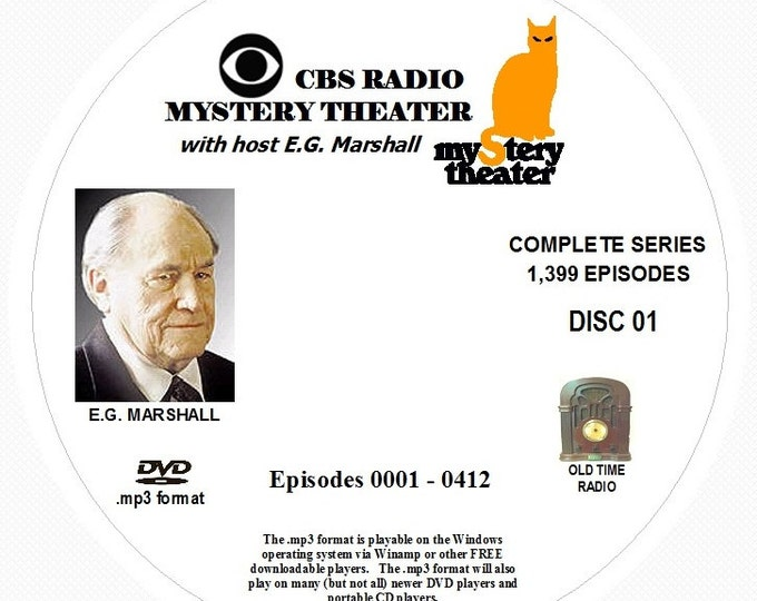 CBS Radio Mystery Theater - 1,399 Shows of Old Time Radio in MP3 Format OTR 4 DVDs (Complete Series)