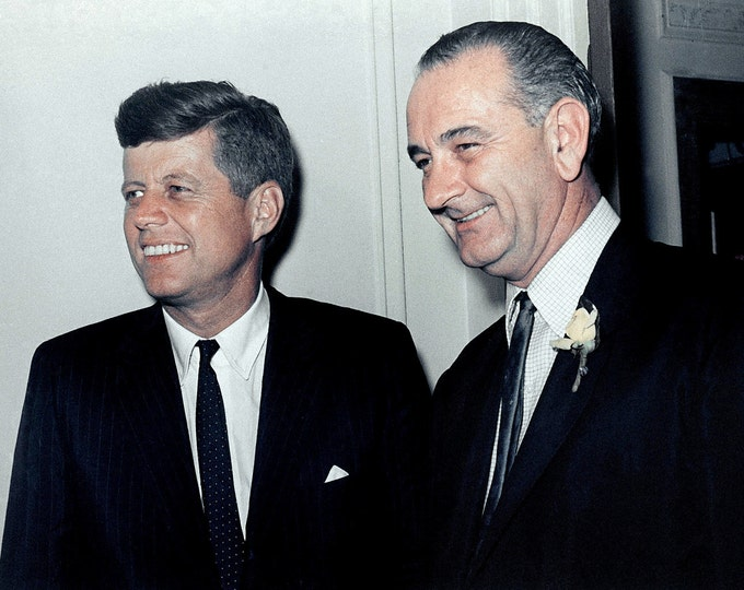 Senators John F. Kennedy & Lyndon B. Johnson at the 1960 Democratic Convention in Los Angeles - 5X7, 8X10 or 11X14 Photo (AA-742)