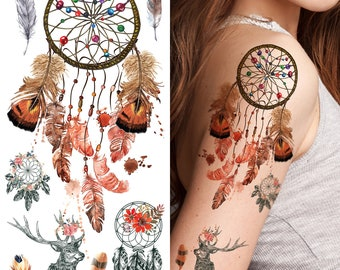 Supperb Temporary Tattoos Dream Catcher Dreamcatcher Colorful Feather Bohemian Tattoo Set Of 2