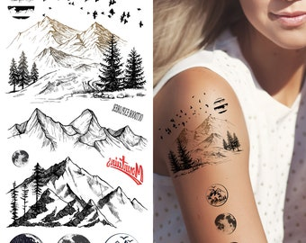 1b7784635 Supperb® Temporary Tattoos - Mountain Outline Moon Tree Birds Wildness  Adventure Bohemian Temporary Tattoos