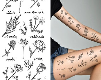 d688a37ab Supperb Temporary Tattoos - Small black roses flowers peony chrysanthemum  dahlia dandelion gladiolus chamomile temporary tattoos (Set of 2)