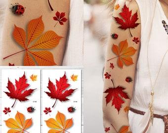 Supperb Temporare Tattoos Autumn Leaves Ahorn Blatter Blatt Etsy