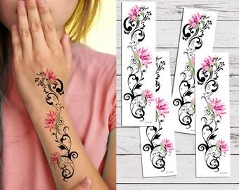 a499291de Supperb® Temporary Tattoos - Pink Lotus Tribal Temporary Tattoo Tattoos  (Set of 4)