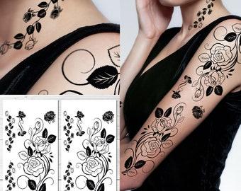 e460d611f Supperb® Temporary Tattoos - Black Tribal Rose Tattoo Sleeve Large Tattoo  Arm Tattoo