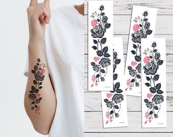 fb38dbb2a Supperb® Temporary Tattoos - Pink Tribal Flower Vine Temporary Tattoo  Tattoos (Set of 4)