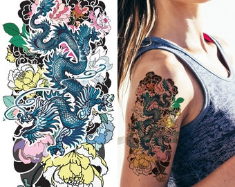 2a5b34de3630e Supperb Temporary Tattoos - Dragon in the Flowers & Clouds (Set of 2)