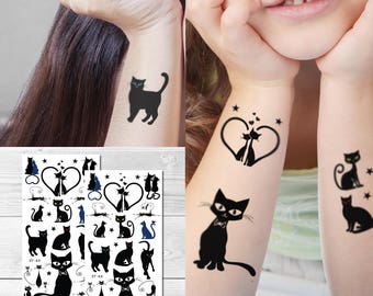0eee984fe Supperb® Temporary Tattoos - Cute Black Cats, Lover Cats (Set of 2)