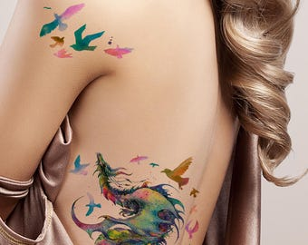 0bc03657c Supperb Large Temporary Tattoos - Gorgeous Colorful Dragon & birds
