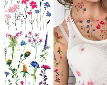 091713448 Supperb Temporary Tattoos - Watercolor handrawn painted small flowers floral  wildflowers branches leaf herbs Tattoo