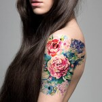 Supperb Large Temporary Tattoos - Watercolor Painting Bouquet of Summer Flowers