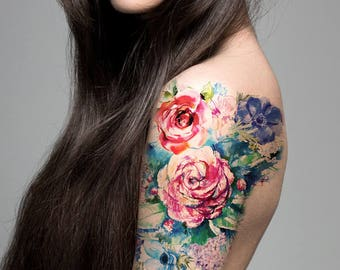 4638a1d09 Supperb Large Temporary Tattoos - Watercolor Painting Bouquet of Summer  Flowers