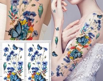 a31486c84de86 Supperb Temporary Tattoos - Watercolor Painting Bouquet of Summer Flowers  butterflies hummingbird Full Arm Tattoo
