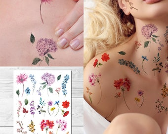 4c7b41187 Supperb Temporary Tattoos - Watercolor style Handrawn painted flowers floral  wildflowers branches leaf herbs Tattoo