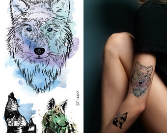 d47657dac8e27 Supperb Large Temporary Tattoos - Watercolor Wolf Wolves Tattoo (Set of 2)