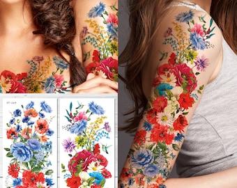 48bd462b3b47f Supperb Temporary Tattoos - Hand drawn Full Arm Colorful Summer Flower  Bouquet II (Set of 2)