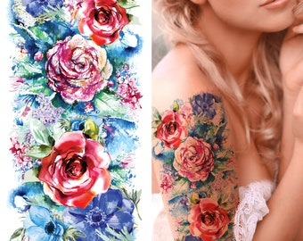Supperb Large Temporary Tattoos - Watercolor Painting Bouquet of Summer Flowers II