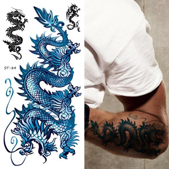 625ec4b213b0f Supperb Temporary Tattoos Blue Dragon II Set of 2   Etsy