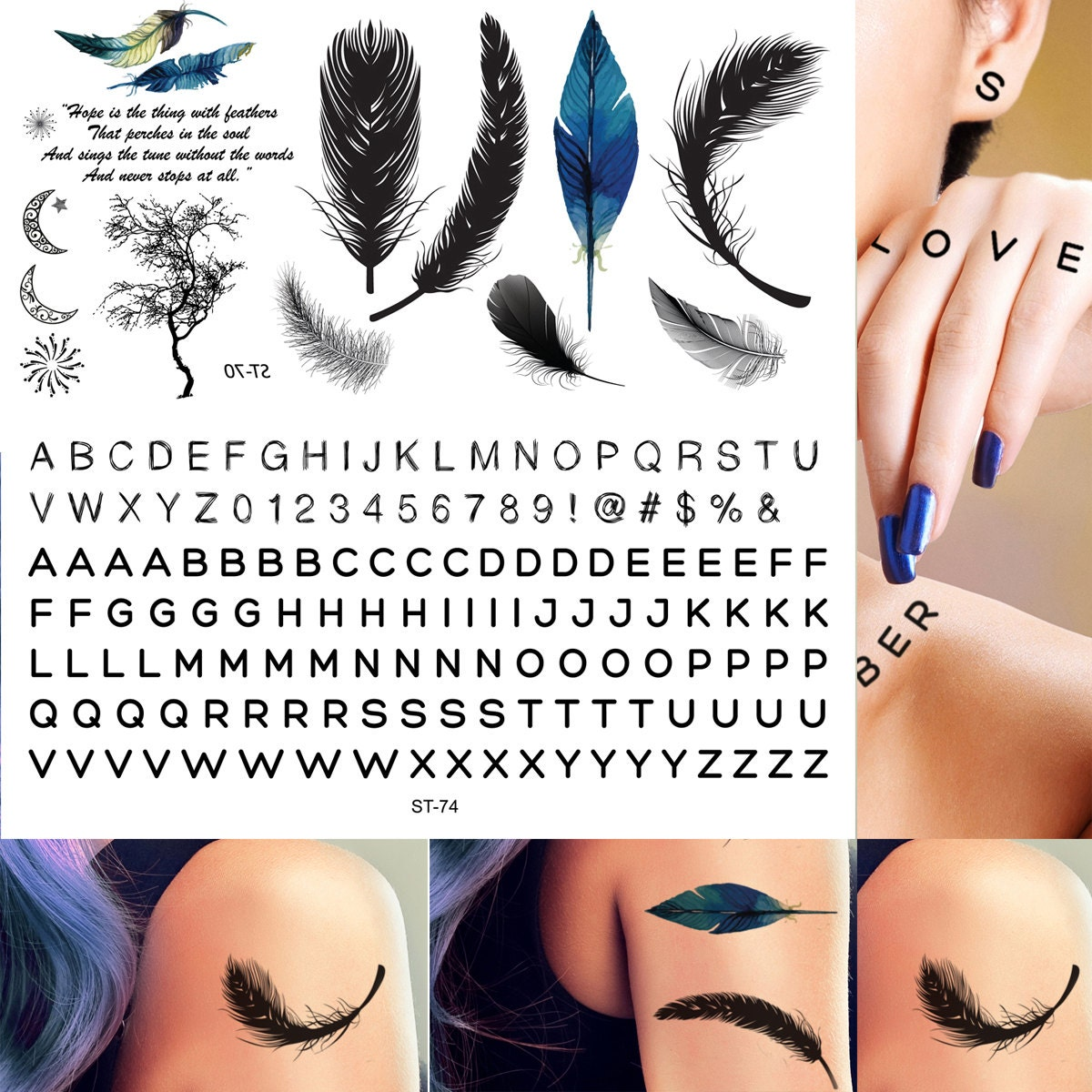 Supperb Temporary Tattoos Classic Feather Hand Lettering Etsy